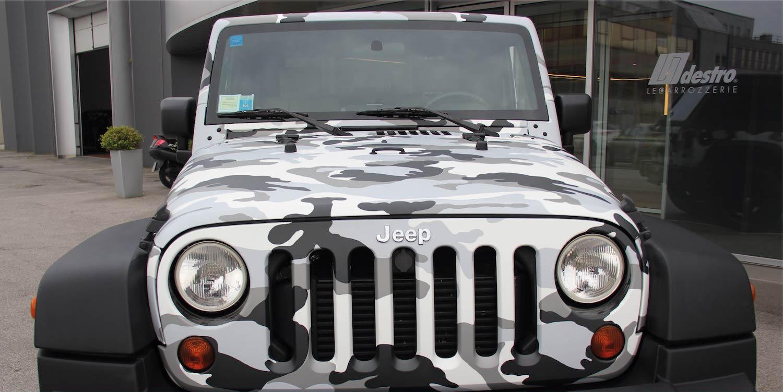 Wrapping Auto Carrozzeria Destro Padova Limena finitura Jeep mimetica militare